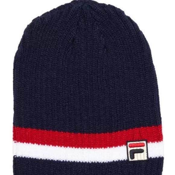 fec41dc8a18 Fila Navy Blue Heritage Rib Knit Beanie